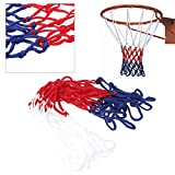 LLLucky 5mm Basketball Net Replacement Universal Goal Rim Mesh Strong Durable Nylon Brained Tri-Colored Basketball Hoop Net Accessories Hoop Outdoor Indoor Sports