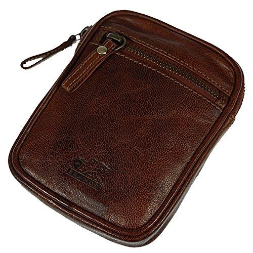 Branco Gürteltasche Leder Hüfttasche Bauchtasche Partytasche Festivaltache Vintage Ledertasche GoBago (Dark-Red) Brown