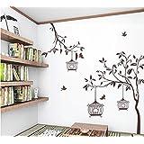 Eden Art-DIY decoración para el hogar arte extraíbles pared vinilo árbol de habitación guardería infantil y jaula de pájaros pegatinas de pared # WM047
