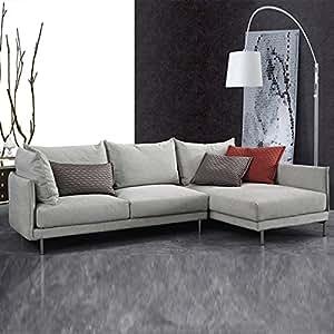 Canapé d'angle droit en tissu gris - Victoria