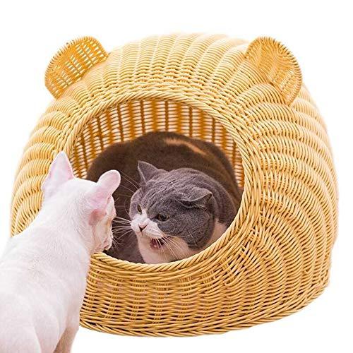 Cama mimbre gatos ratán Casa gatos verano, cama Four