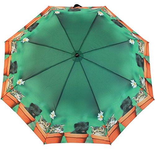 Doppler - ombrello tascabile con motivo a gatti, colore verde