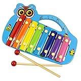 Hillento Holz-Xylophon für Kinder - bestes musikalisches Spielzeug für Kleinkinder in perfekter Größe - mit 8 hellen, vielfarbigen Metallschlüsseln, 2 kindersicheren Holzschlägeln, Holzinstrument Eulenform