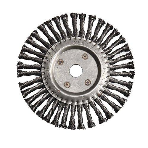 huangThroStore Rundbürste aus Edelstahl, 200 mm, kegelförmig, geknotet, Unkrautbürsten