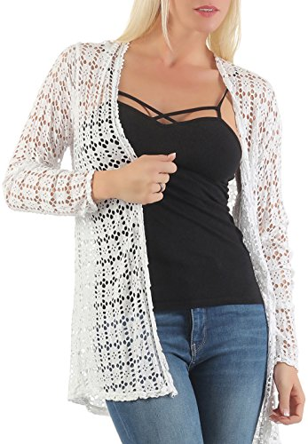 malito-Cardigan-perfor-Gilet-Veste-Casual-5148-Femme-Taille-Unique-blanc