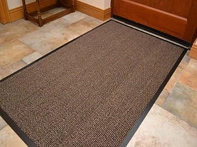 Extra Large Big Light Dark Beige Brown Hardwearing Heavy Duty Black PVC Edge Pile Top Rubber Barrier Entrance Door Kitchen Utility Dust Floor Mats Rugs 90cm x 150cm - inexpensive UK light shop.