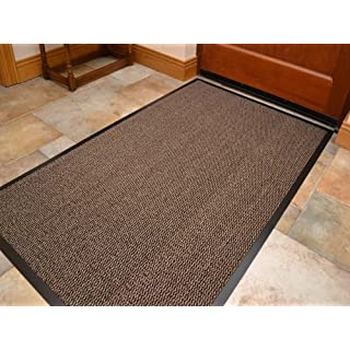 Machine Washable Beige Brown Heavy Quality Non Slip Hard Wearing Barrier Mat. Available in 8 sizes (80cm x 120cm)