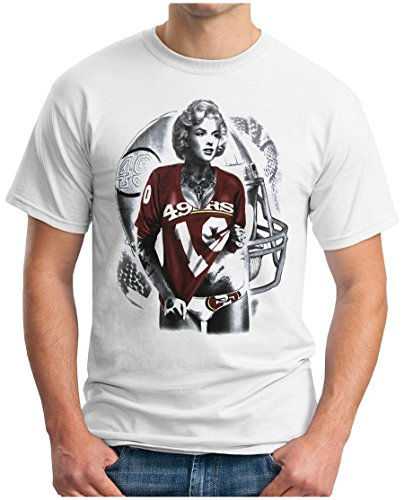 OM3 - Marilyn Monroe - 49ers - T-Shirt San Francisco American Football Hollywood Star Legend LA NY USA, XL, Weiß (Cheerleader Designs T-shirt)