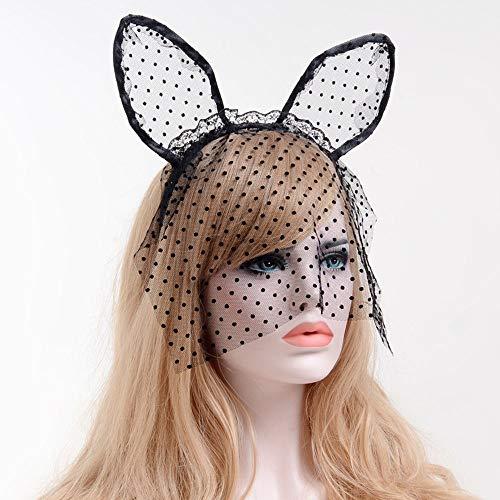 Spitze Hasenohren Stirnband Sexy Niedliche Orecchiette Kaninchen Katze Ohr Haarband mit Sheer Mesh Dot Muster Schleier für Kostüm Party Maskerade Cosplay Hochzeit Kostümzubehör