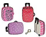 Sparschwein Koffer - Porzellan / Keramik mit Schlüssel - rosa pink lila Girl stabile Sparbüchse für die Reisekasse Reisen Geld Spardose Reisekoffer Urlaubskasse Trolley