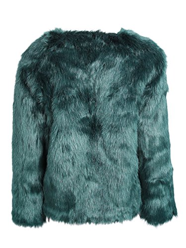 Simplee Apparel Damen Mantel Winter Elegant Warm Faux Fur Kunstfell Jacke Kurz Mantel Coat Grün