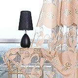 ToDIDAF Transparente Gardinen Vorhang, Blätter Vorhang Tüll Fenster Behandlung Voile drapieren Volant 2 Stoffbahnen für Zuhause Wohnzimmer Schlafzimmer Dekoration, 100 x 270 cm (Beige)
