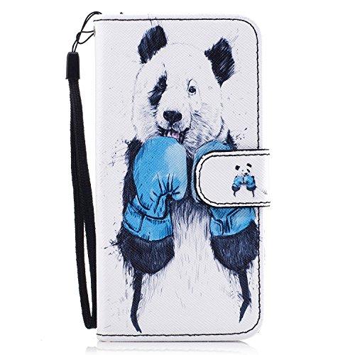 Custodia iPhone 7 / iPhone 8 Cover ,COZY HUT Flip Caso in Pelle Premium Portafoglio Custodia per iPhone 7 / iPhone 8, Retro Animali di cartone animato Modello Design Con Cinturino da Polso Magnetico S Kung Fu Panda