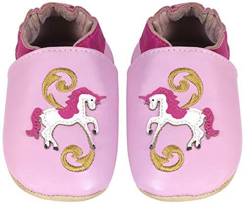 Pompöös Krabbel-Schuhe aus echtem Leder für Babys und Kleinkinder, Kita-Schuhe / Schläppchen / Baby-Schuhe / Kinderschuhe Design Einhorn, Gr. 22/23