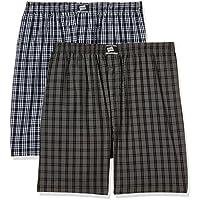 Hanes Men's Checkered Cotton Boxer Shorts (Pack of 2)(P108_Navy -Black Checks_M)