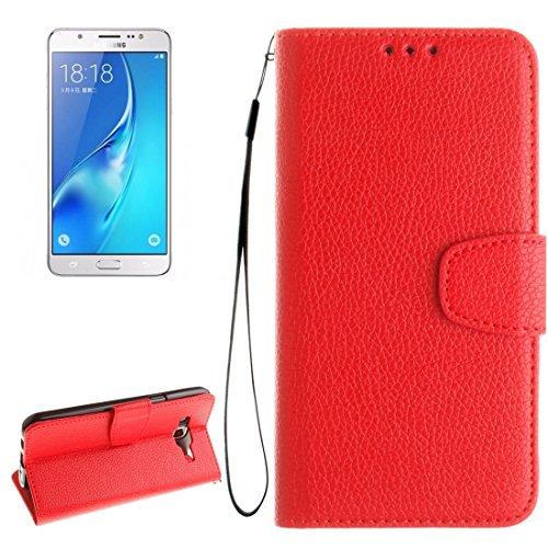Für Samsung Galaxy J7 / J710 (2016) Litchi Textur Horizontale Flip Stand PU Leder Brieftasche Case Cover mit Halter & Card Slots & Wallet & Photo Frame & Lanyard by diebelleu ( Color : Brown ) Red