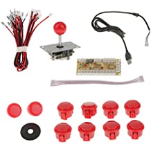 MagiDeal Universal DIY 8 Way Joystick Fight Stick Push Buttons for Arcade Competition Red