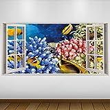 LagunaProject EXTRA GROßE Gelber Fisch Corel Tierwelt 3D Vinyl Sticker Poster Wandsticker Wandtattoo Wandbild Wanddeko -140cm x 70cm