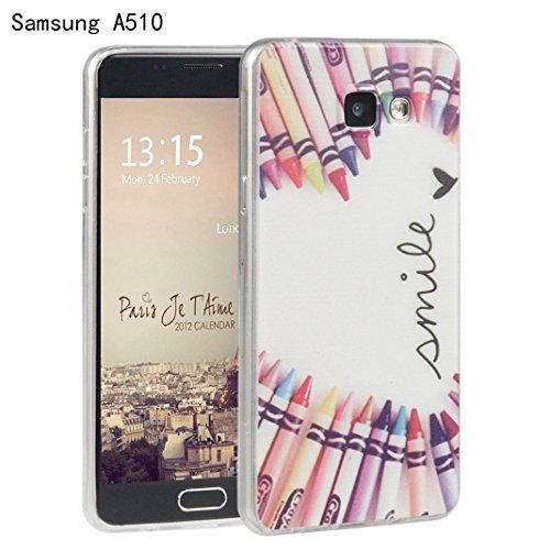 Galaxy A5(2016) Cover, Per Samsung Galaxy A510F, Asnlove Custodia Case di protezione di caso della copertura di Gel TPU silicone morbido transparente modelli pittura protecttiva posteriore di vari colore-Penna