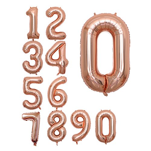 Folienballons in Roségold, 101,6 cm, Jumbo-Zahlen, für Geburtstage, Partys, Jubiläumsveranstaltungen, Dekorationen und Abschlussdekorationen Rose0 - Office Space Kit