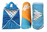 #7: My NewBorn Velvet And Fleece Hooded Blankets - Set Of 3 - Sky Blue
