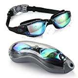 Aegend BLACK MIRRORED Swimming Goggles No Leaking Anti Fog UV Protection Triathlon Swim Goggles Mirrored Coated with Free Protection Case for Adult Men Women Youth Kids Child, Black