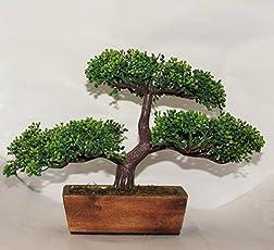 Bonsai Tree Green Artificial With Wooden Pot