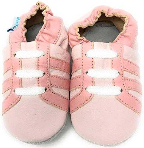 MiniFeet Chaussures Bébé - Chaussons Bébé - Chaussons Cuir Souple - Chaussures Cuir Souple - Chaussures Premiers Pas - Chaussures Bébé Fille - 0-6, 6-12, 12-18, 18-24 Mois et 2-3 Ans Chaussure de Sport Rose