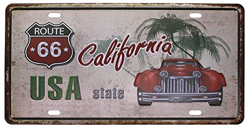 Shinewe USA State California Vintage Blechschild Metall Poster Nummernschild Passform für Bar Pub Home Dekoration 15x 30cm