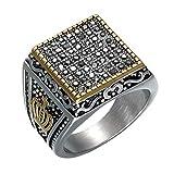 OOFAY Ring Square Hip Hop Diamond Edelstahl Geometrie Schachbrett Titan Steel Anti-Allergie-Persönlichkeit Golden Man Ring,12