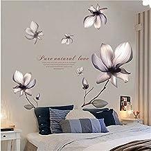 Cinlla® Flores moradas Calcomanía Extraíble Mural Pegatinas de Pared de Arte para Sala de Estar Dormitorio Decoración del Hogar DIY Wall Sticker