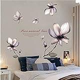 Cinlla Stickers Muraux Fleurs Pourpres Amovible Murale Stickers Vinyle pour Salon...