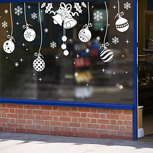 ZhenFa White Christmas Bells Weihnachten Kugel Anhänger Leben Hostel Schlafzimmer Dekoration Farbe wasserdicht Wandtattoo -
