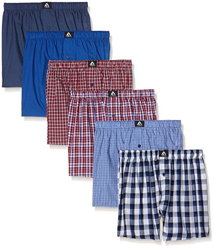FM London Herren Boxershorts Woven, Polycotton, 6er Pack Blue (Multi-Pack)