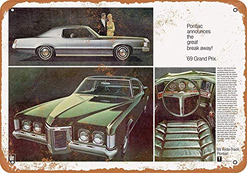OURTrade 8 x 12 Metal Sign - 1969 Pontiac Grand Prix Wide-Track - Vintage Look -