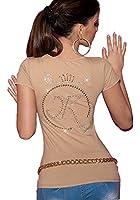 Damen Shirt, Kurzarm Top mit Strassmotiv, Einheitsgröße (32-38)