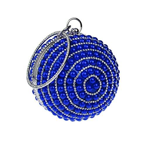 Clutch Purse Handtasche Perlen Abendtasche Strass Round Ball Wrist Bag-blue