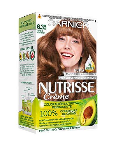 Garnier Nutrisse Creme Coloración permanente con mascarilla nutritiva de cuatro aceites - Rubio Marrón...