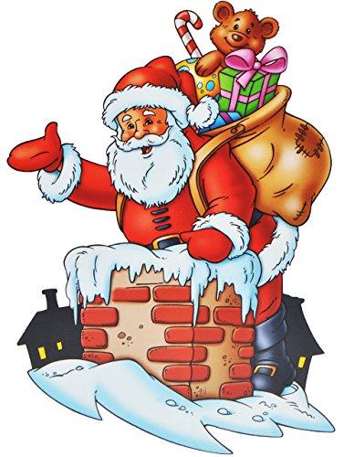 """1 Stück: XL Fensterbild - """" Weihnachten """" - Rentier / Weihnachtsmann / Geschenke - Sticker wiederverwendbar - Fenstersticker Aufkleber selbstklebend & statisch haftend"""