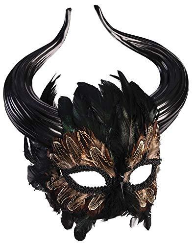 shoperama Minotaurus Maske mit Stier Hörnern und Federn -