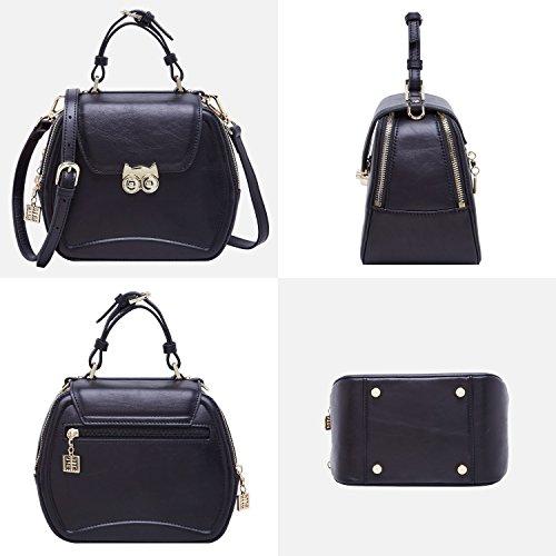 BOYATU Frauen Leder Handtasche Single Schulter Messenger Bag Sommer Wald Serie Crossbody Tasche Katze Schnalle (Elegant blau) Schwarz