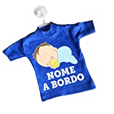 Mini T-shirt magliettina auto macchina bimbo bimba a bordo personalizzata nome bebè nanna ciuccio blu chiaro