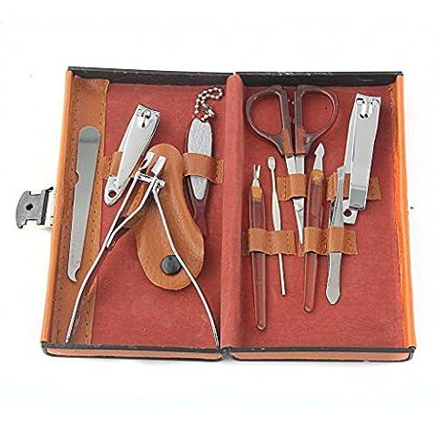 Kit de Manucure Pédicure en Acier Soin des Ongles 10pcs