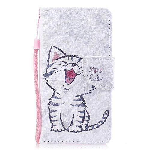 Cozy Hut Huawei Y6 II Compact Hülle, Premium PU Leder Flip Tasche mit Integrierten Kartensteckplätzen und Ständer,Magnetverschluß Wallet Case für Huawei Y6 II Compact - Glückliche Katze