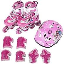 Cimiva LWX-001 - Patines en línea tamaño ajustable 11.5-13 EU con Juego de casco y protecciones para niña, rosa