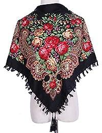 f81219e4243 HongHu Châle châle foulard imprimé mode femmes avec gland pour automne hiver