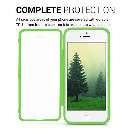 kwmobile Cover in silicone per Apple iPhone SE / 5 / 5S - Custodia Full Body Case protezione integrale per cellulare verde trasparente