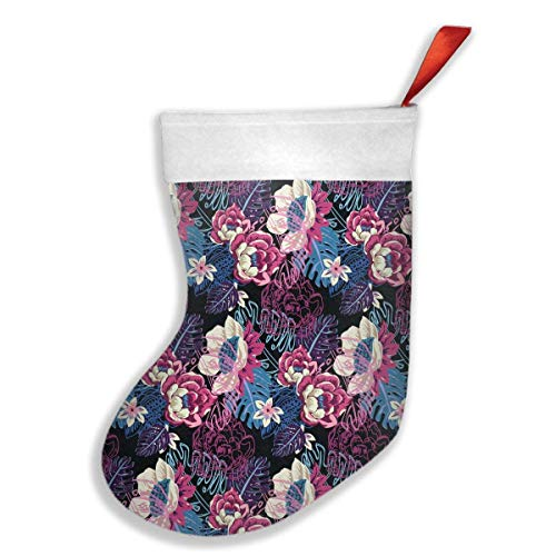 Cap clothes Pure Color Hand Painted Flower Watercolor Seamless Pattern Felt Christmas Stocking Party Accessory -