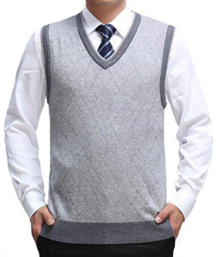 DD UP Herren V-Ausschnitt Business Argyle Muster Pullunder Weste Grey,Gr.L(EU),XXL(Asien)