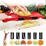 Teepao Mandoline Vegetable Slicer, Food Cutter Fruit Chopper Granulator, 6 Adjustable Interchangeable Blades